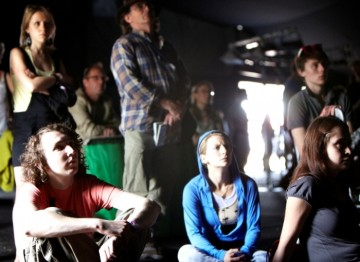 An absorbed crowd watching BAFTA's live action shorts in the Music and Film Arena (Picture: Jonathan Birch)