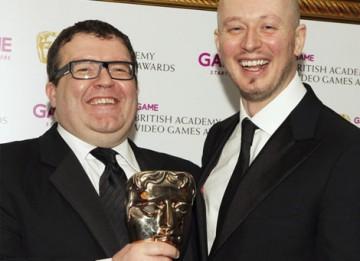 EA Games' Jon Goddard and Guy Perkins celebrate their BAFTA in the Multiplayer category for Left for Dead 2 (BAFTA/Steve Butler).