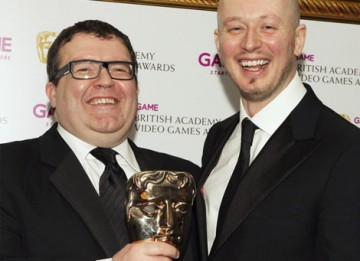 EA Games' Jon Goddard and Guy Perkins celebrate their BAFTA in the Multiplayer category for Left for Dead 2 (BAFTA/Steve Butler).