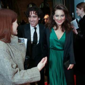 Stephen Mangan arrives at BAFTA 195 Piccadilly with his wife Louise Delamere