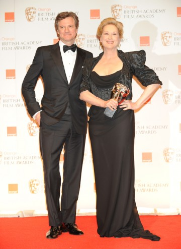 Presenter Colin Firth with The Iron Lady's leading lady. This is Streep's second BAFTA after winning for The French Lieutenant's Woman in 1981.