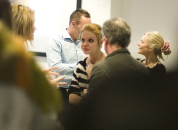 Potential mentors networking after the presentation on the youth mentoring programme by BAFTA and Media Trust