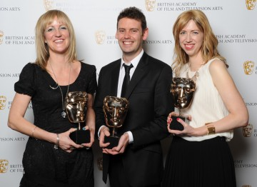 Steph Harris, Dan Jones and Sandra Gorel  pick up the BAFTA for Digital Creativity