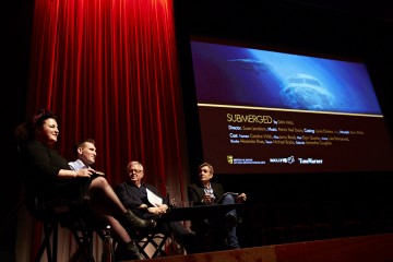 (L-R) Farah Abushwesha, Dan Hall, Michael Kuhn and Andy Harries at the BAFTA Rocliffe New Writing Forum