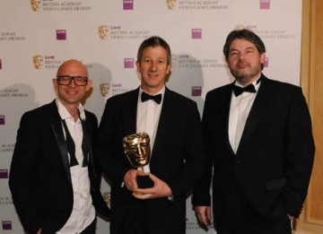 TV presenter and children's author Jason Bradbury and Archer Maclean, legendary programmer and founder of Awesome Play Ltd, presented the Technical Achievement Award to Keith Ramsdale for Spore (BAFTA / James Kennedy).