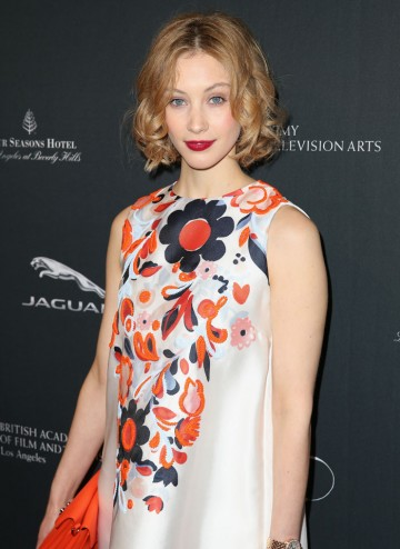 Sarah Gadon arriving at the BAFTA LA 2014 Awards Season Tea Party.