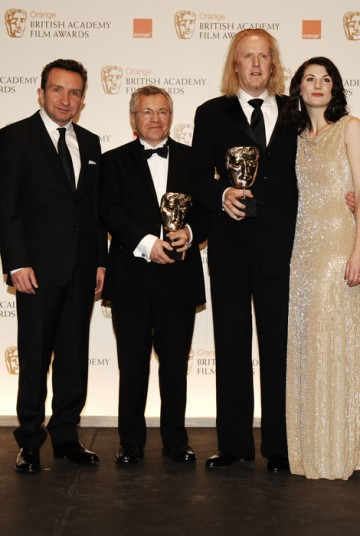 Ray Beckett and Paul N. J. Ottosson celebrate winning the award for Sound and Editing for The Hurt Locker with presenters Eddie Marsan and Jodie Whittaker (BAFTA/Richard Kendal).