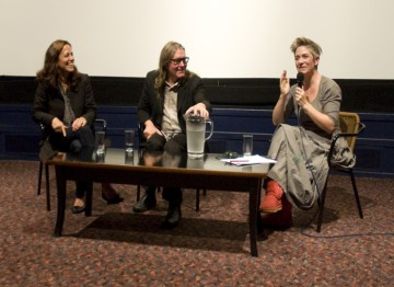 Denise Mina chairing the Q&A with Stephen Woolley and Elizabeth Karlsen