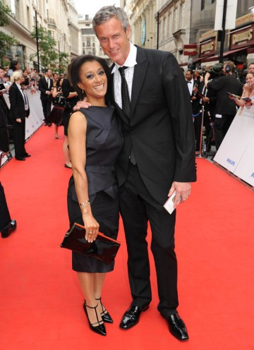Casualty star Suzanne Packer arrives outside the London Palladium and poses with Mark Foster (BAFTA/Richard Kendal).