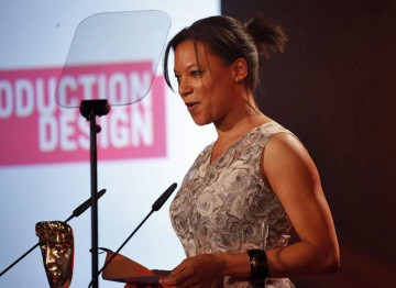 Sosanya takes a break from filming Treasure Island with Donald Sutherland to present the award for production design. (Pic: BAFTA/Jamie Simonds)
