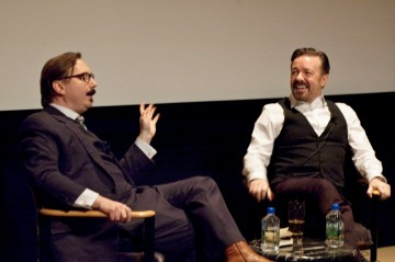 "Ricky Gervais and moderator John Hodgman at the Q&A for ""Life's Too Short"""