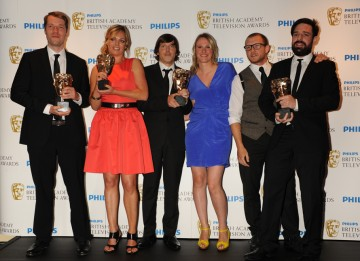 Karen Heldoorn, Colin Hunter, Nick Cohen and Dan Efergan from Aardman Digital won the New Media award for Wallace and Gromit's World of Invention. (Pic: BAFTA/Richard Kendal)
