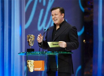 Comedian Ricky Gervais presented the first Awards of the evening, for Short Film and Short Animation (pic:BAFTA / Camera Press).