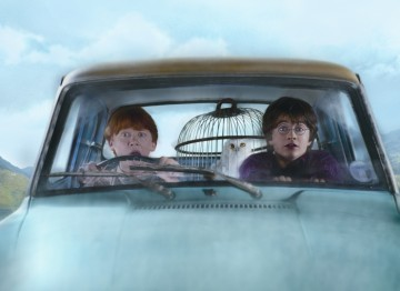 Harry and Ron take a ride in the Flying Ford Anglia in the second film of the Harry Potter series.