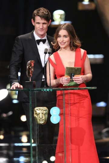 Matt Smith and Emilia Clarke present the award for Special Visual Effects at the EE British Academy Film Awards