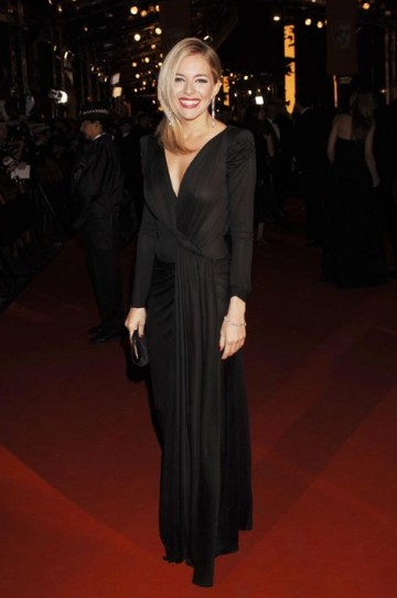 Orange Rising Star Award nominee Sienna Miller wore a long-sleeved, black jersey Dior gown with Chopard diamonds (pic: BAFTA / Richard Kendal).