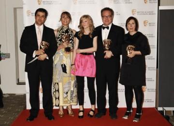 Hettie MacDonald, Abi Morgan,  Andrew Woodhead, Greg Brenman and actress Holly Kenny celebrate winning the Single Drama BAFTA for White Girl (BAFTA / Richard Kendal).