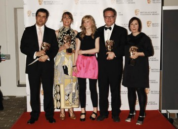 Hettie MacDonald, Abi Morgan,  Andrew Woodhead, Greg Brenman and actress Holly Kenny celebrate winning the Single Drama BAFTA for White Girl (BAFTA / Richard Kendal).