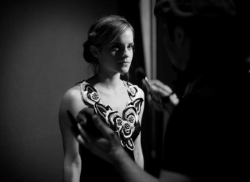 Emma Watson, star of Harry Potter, rehearsing her lines before going on stage to present BAFTA for Special Visual Effects (Greg Williams / Art+Commerce).