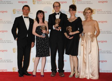 Presenters Dominic West and Emilia Fox with the winning team behind The Fades, Caroline Skinner, Jack Thorne and Susan Hogg.