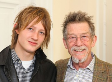 John Hurt with his son Nick Hurt, photographed together at a champagne reception at Savoy, London.