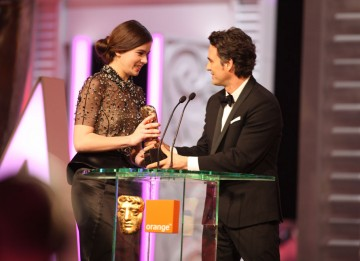 Hailee Steinfeld accepts on Roger Deakins' behalf for his work on True Grit. (Pic: BAFTA/ Stephen Butler)