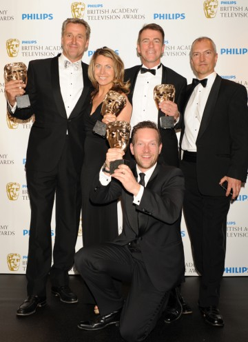 The winning team, including Bill Neely, Mark Austin, Deborah Turness and Toby Castle. (Pic: BAFTA/Richard Kendal)