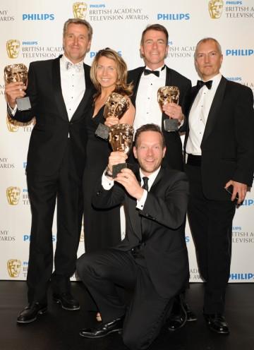 The winning team, including Bill Neely, Mark Austin, Deborah Turness and Toby Castle. (Pic: BAFTA/Richard Kendal)