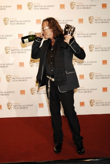 Mickey Rourke's comeback continued as he took the Leading Actor award for his performance in The Wrestler (BAFTA/ Richard Kendal).