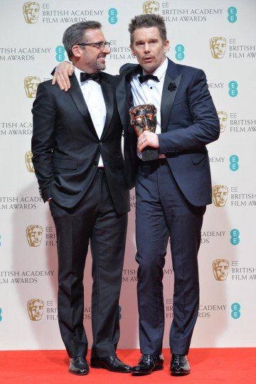 Director - Richard Linklater: Ethan Hawke celebrates the award for Boyhood on Linklater's behalf with Steve Carell