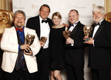 The Wallander team, including Bosse Persson, Lee Crichlow, Iain Eyre and Paul Hamblin, celebrate their Sound Fiction / Entertainment win with actress Jodie Whittaker (BAFTA / Richard Kendal).