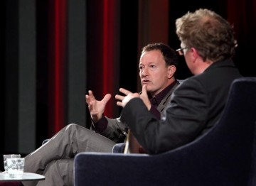 Simon Beaufoy talks with writer and journalist Matthew Sweet at the Lecture. (Photography: Jay Brooks)