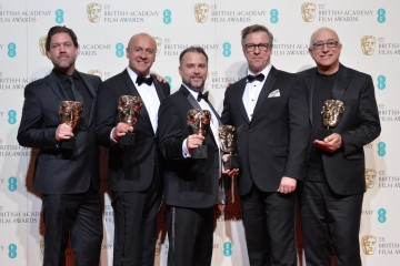 Winners of the Sound award - The Revenant. From L-R: Chris Duesterdiek, Martin Hernandez, Frank A. Montaño, Jon Taylor and Randy Thom