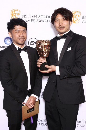 Winners of Audio Achievement, Jun Yoshino and Fumito Ueda, for their game The Last Guardian
