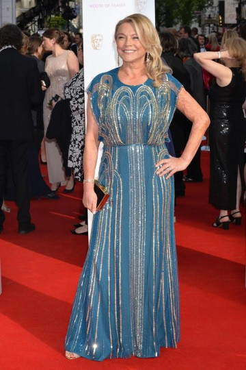 Supporting Actress nominee Amanda Redman looking stunning outside London's Theatre Royal