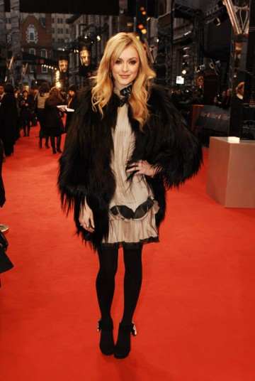 Fearne Cotton kept out the red carpet cold with a super furry weather beater (BAFTA / Richard Kendal).