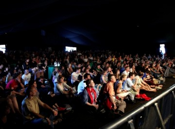 July 17: Another full house in the BAFTA Film Tent with Paul Greengrass drawing in the crowds (Picture: Jonathan Birch)