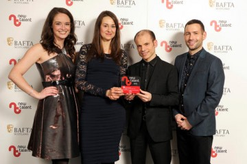 Veronika Koubova &  Yoann Mylonakis (Nominated in the Composer Category) who collected the Sound award on behalf of Gaby Yanez for 'Lemuria', with presenters Jennifer Reoch & David Farrel