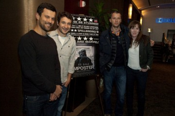 Producer Dimitri Doganis, Director Bart Layton, Producers John Battsek and Molly Thompson.