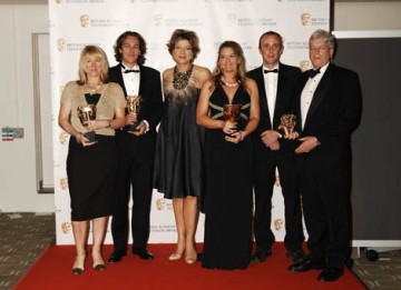 The Dispatches team responsible for Saving Africa's Witch Children celebrate winning the Current Affairs Award with citation reader Kate Silverton (BAFTA / Richard Kendal)