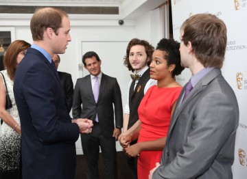 HRH The Duke of Cambridge with Scholars Sam Coleman, Rienkje Attoh and Sam Hughes.