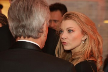 Natalie Dormer deep in conversation at the event reception