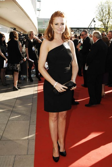 Eastenders star Patsy Palmer went for a simple one-shouldered black gown with matching clutch bag  (BAFTA / Richard Kendal).