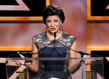 Actress Shohreh Aghdashloo addressed the audience during the Britannia Awards ceremony