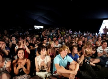 July 18: Another full tent as fans of The Inbetweeners pile in to watch an interview with cast members from the hit TV show (Picture: Jonathan Birch)