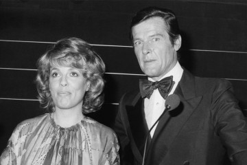 TV presenter Esther Rantzen poses next to James Bond actor Roger Moore at the British Academy of Film and Television Arts Awards.