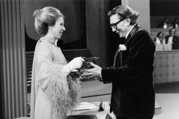 HRH The Princess Anne presents Robin Day With The Richard Dimbleby Award for Best Factual Presenter in 1975.