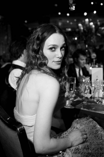 The star of Atonement relaxes at the Orange British Academy Film Awards dinner (pic: Greg Williams / Art + Commerce)