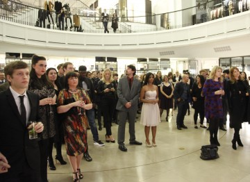 The Breakthrough Brits gather to watch the showreel at Burberry.