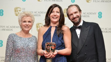 Julie Walters and Ralph Fiennes accompany Christine Langan as she celebrates her award for Outstanding British Contribution to Cinema